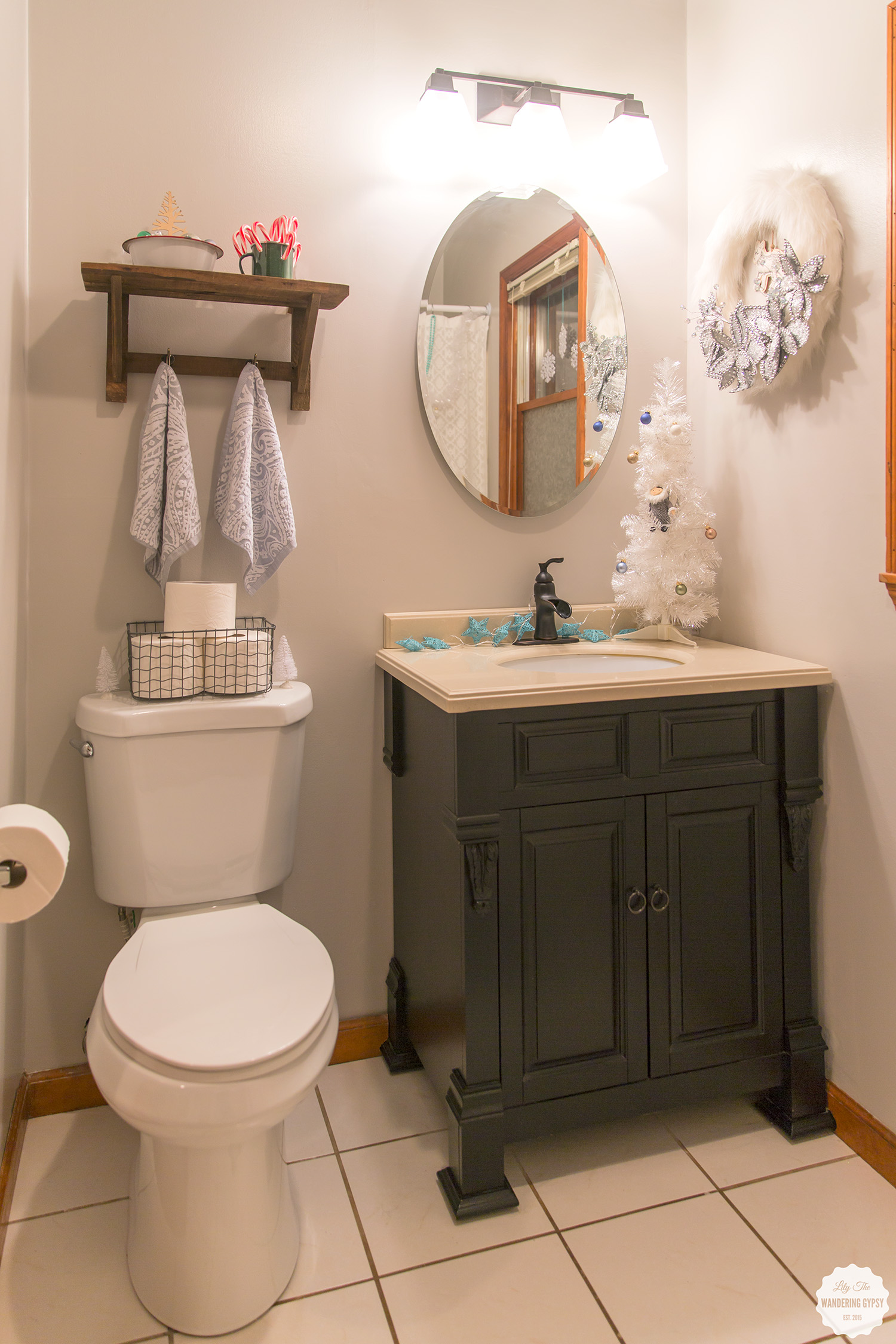 classy bathroom makeover #QuiltedHoliday
