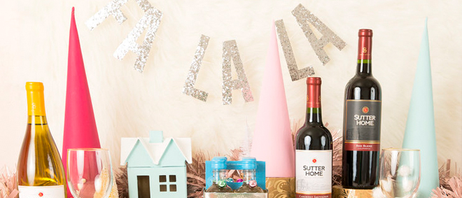 Holiday Wine Party Table with DIY Ideas