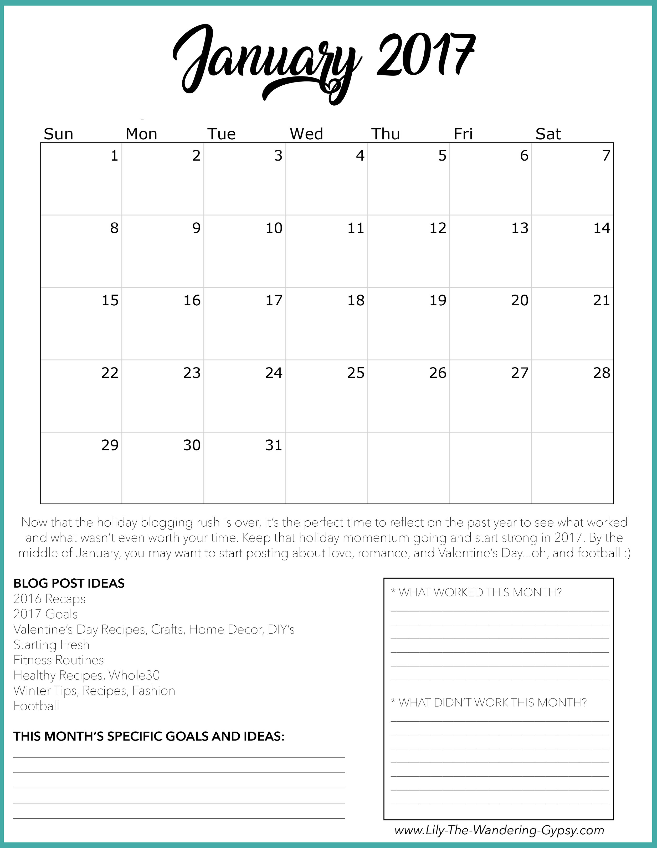 January 2017 Blogging Content Strategy Workbook Page