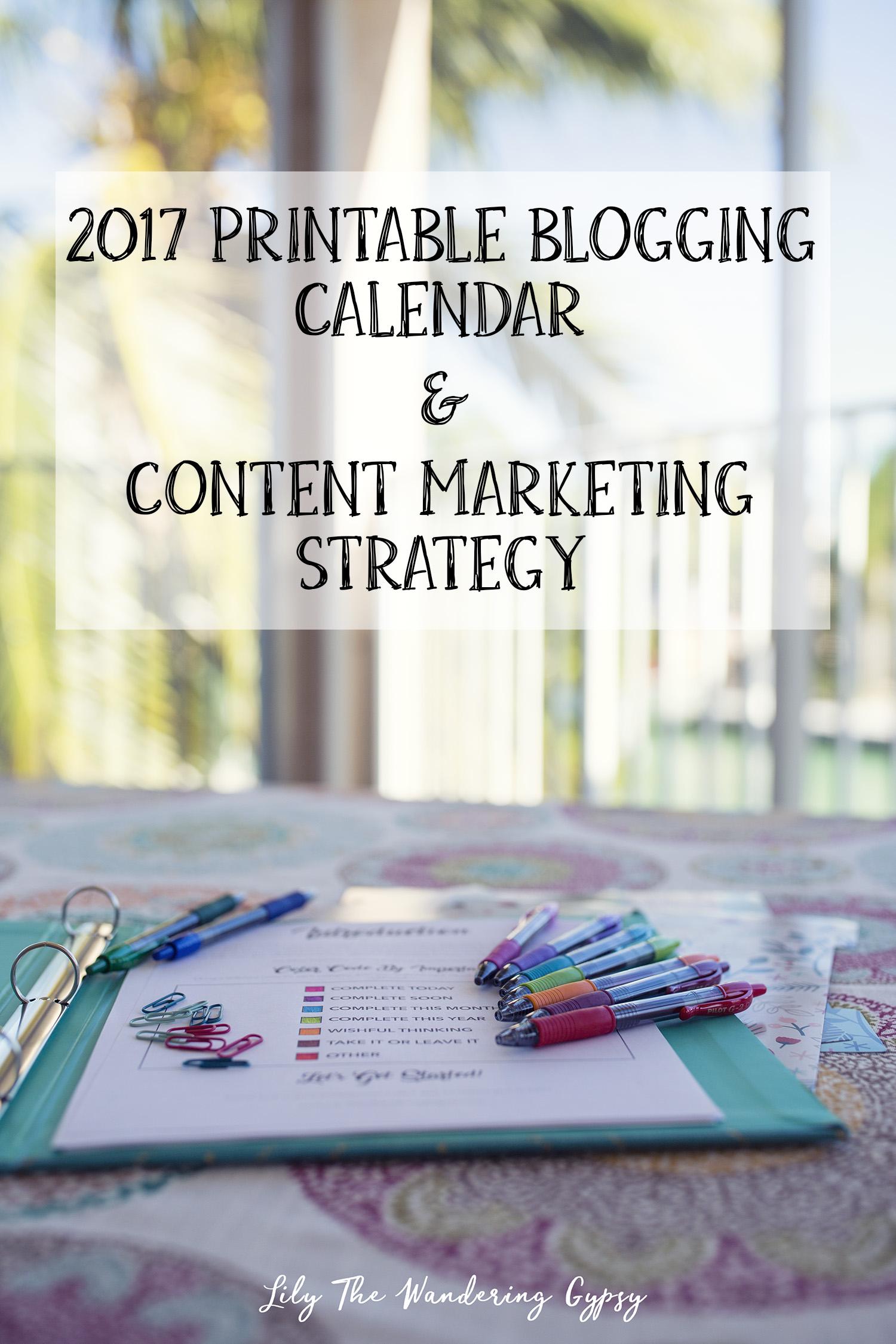 2017 Blogging Calendar - Free Printable