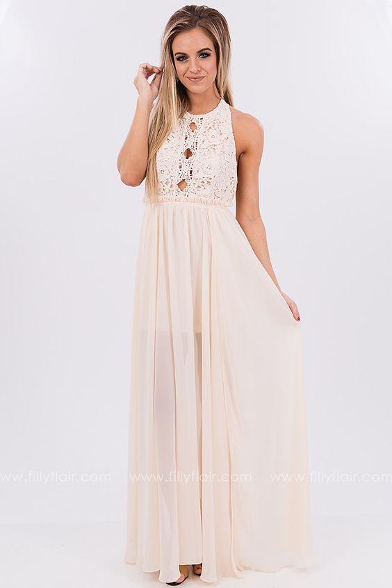 Ivory Love Lace Maxi Dress
