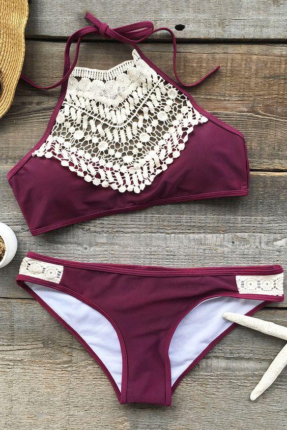Boho Burgundy Embroidery Detail Bikini $29.99