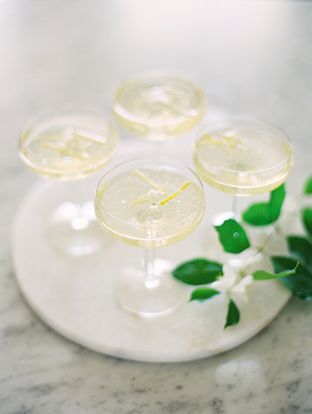Honeysuckle Champagne cocktails
