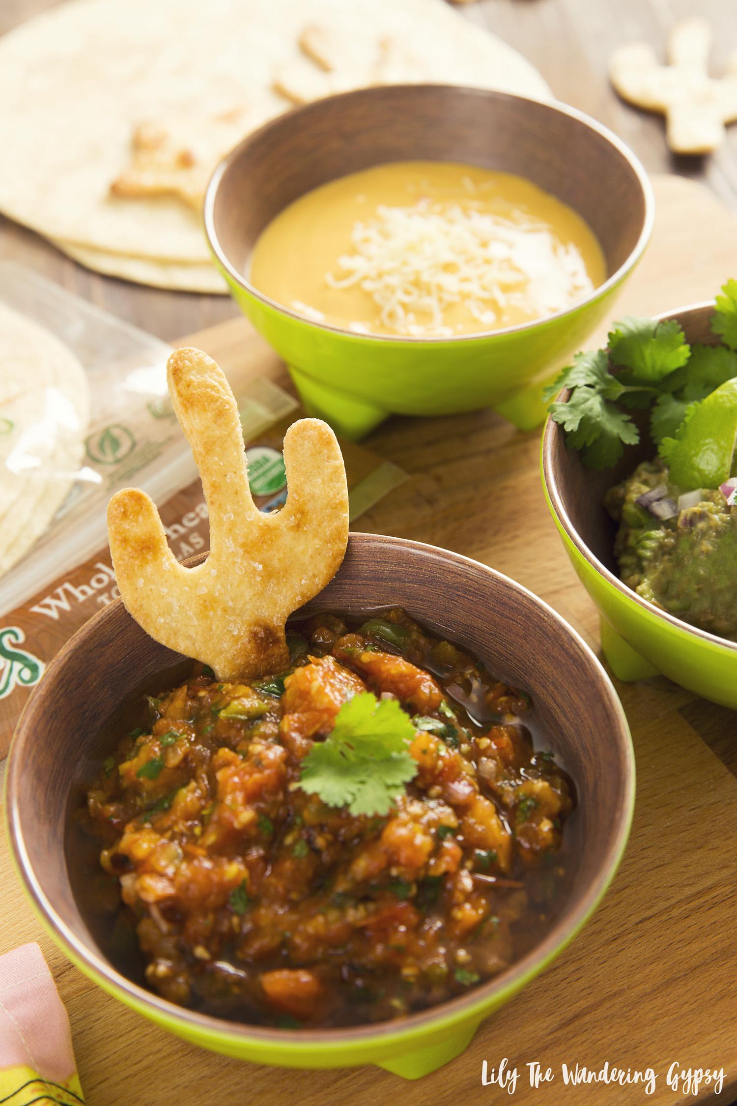 Organic Fire Roasted Salsa + Cute Hand Cut Tortilla Chips