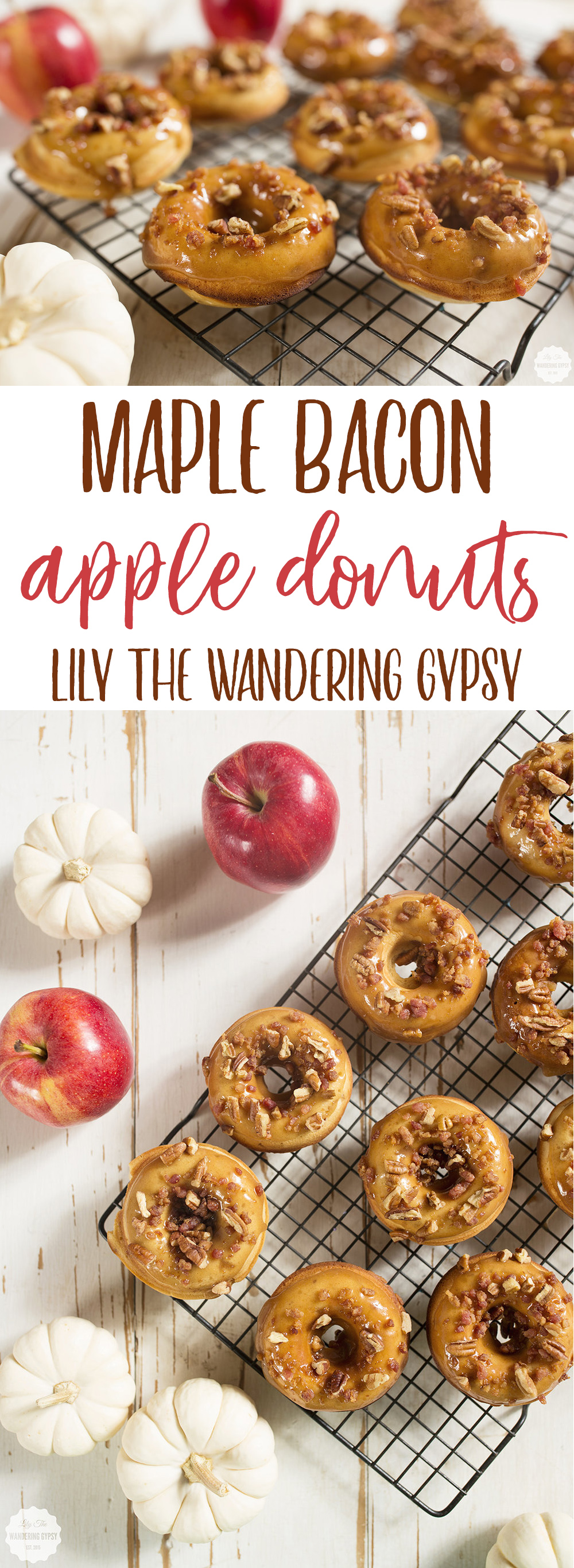 Delicious Fall Donut Recipe - Maple Bacon Pecan Glazed Baked Apple Donuts