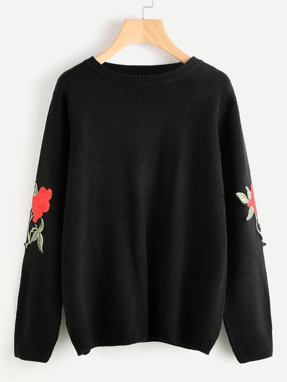 Black Sweater with Rose Embroidery