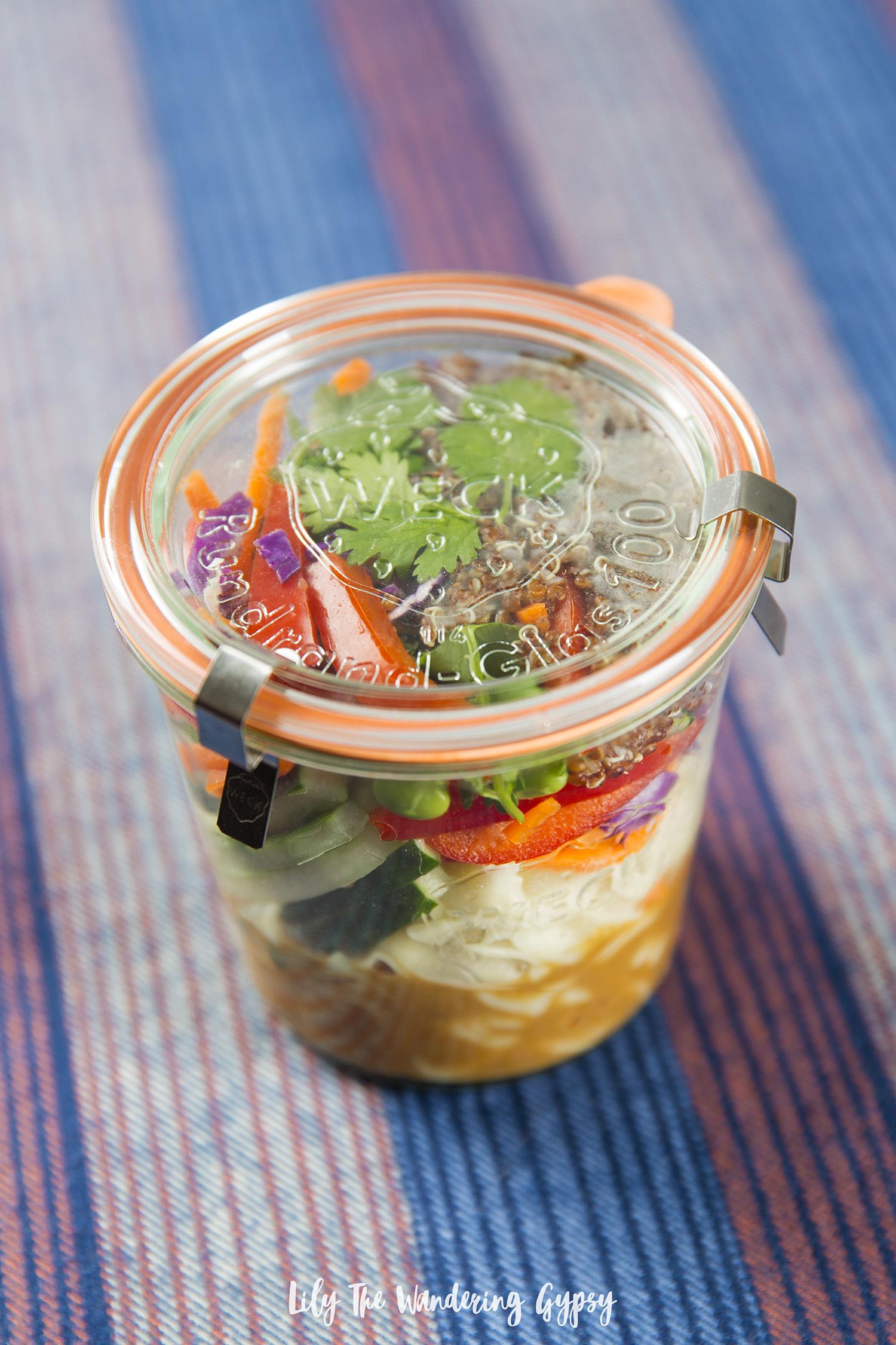Thai-Inspired Vegetarian Quinoa Noodle Jars