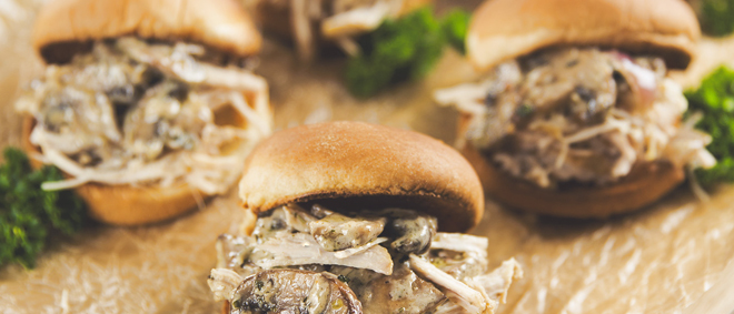 Creamy Mushroom + Pulled Pork Sliders
