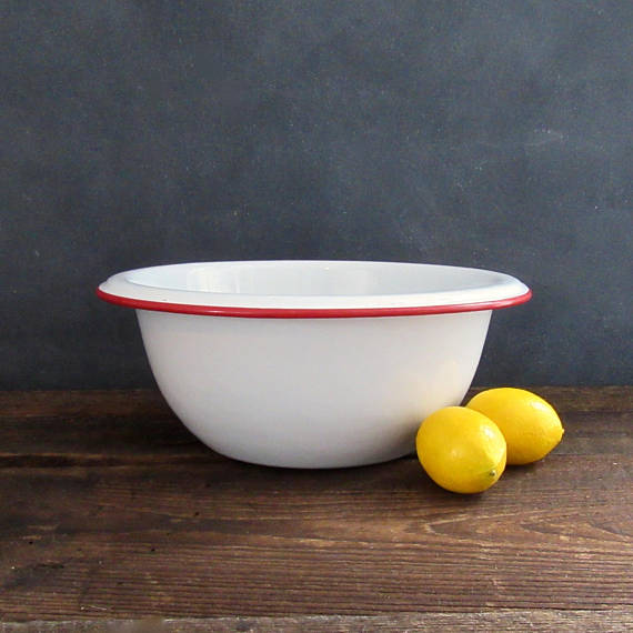 Vintage Red Enamel Mixing Bowl on Etsy