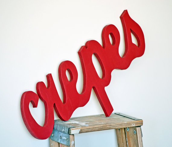 "Vintage Look Wooden ""Crepes"" Sign"