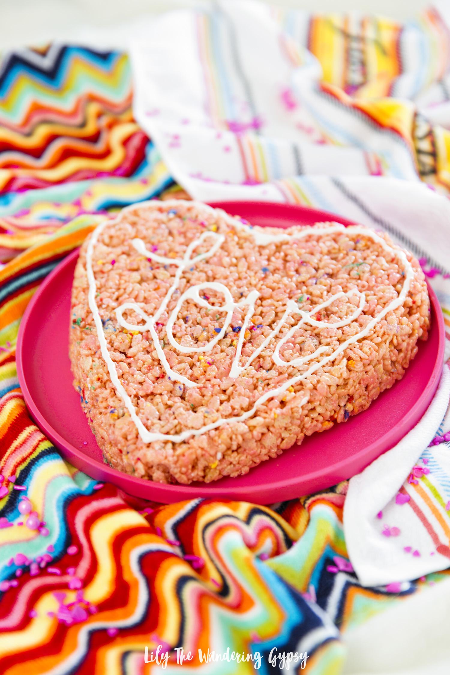 Giant Heart Shaped Rice Krispy Treat