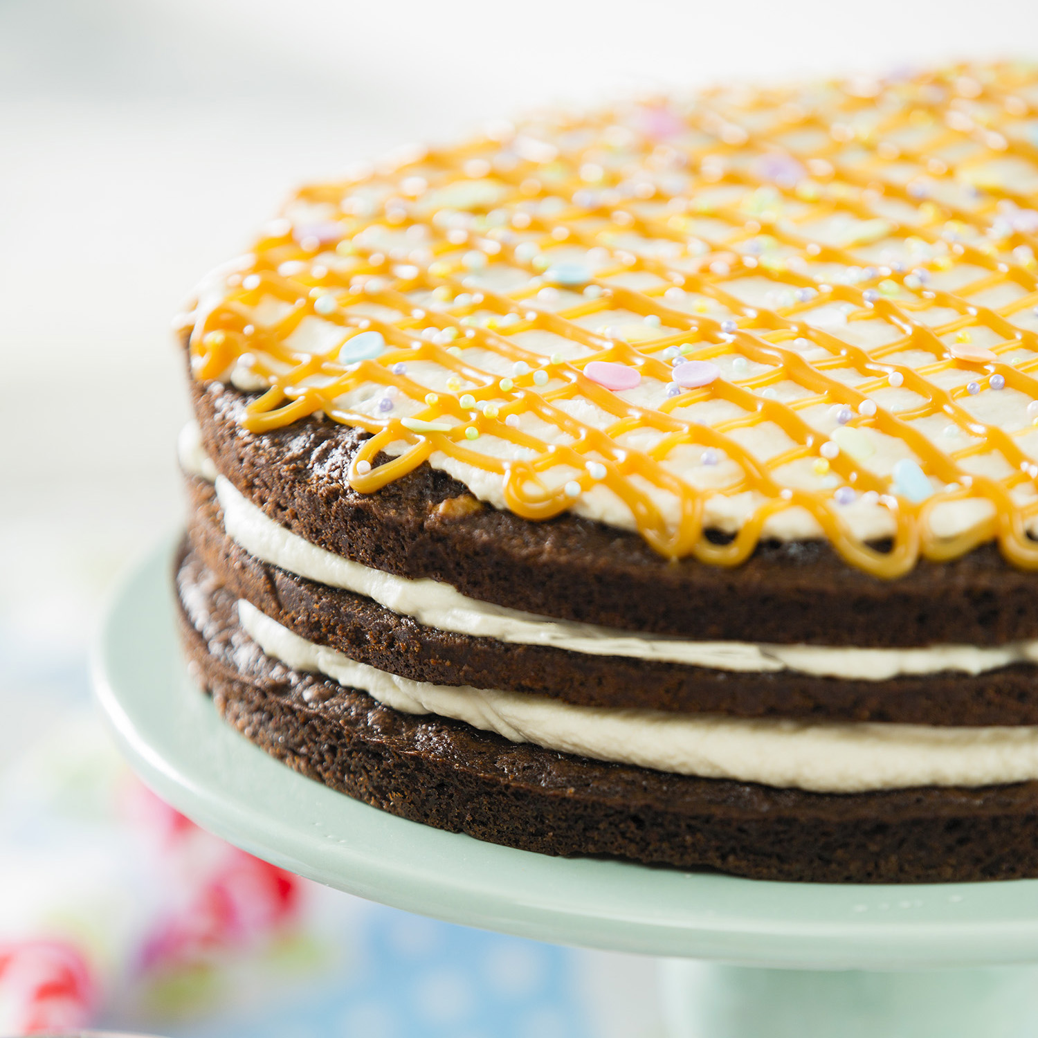 Easy Brownie Caramel Layer Cake