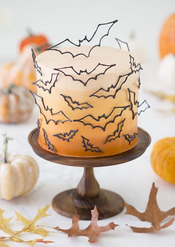 A  Halloween Bat Cake  that takes the cake for the most elegant and 3-Dimensional cake.