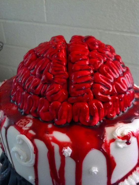 This bleeding brain Halloween cake is just too gross!