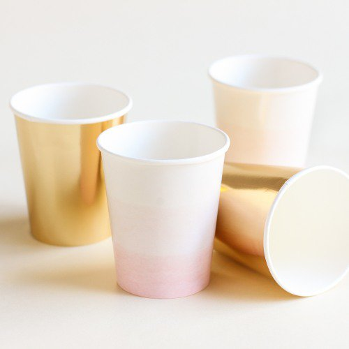 Pink and Gold Paper Party Cups