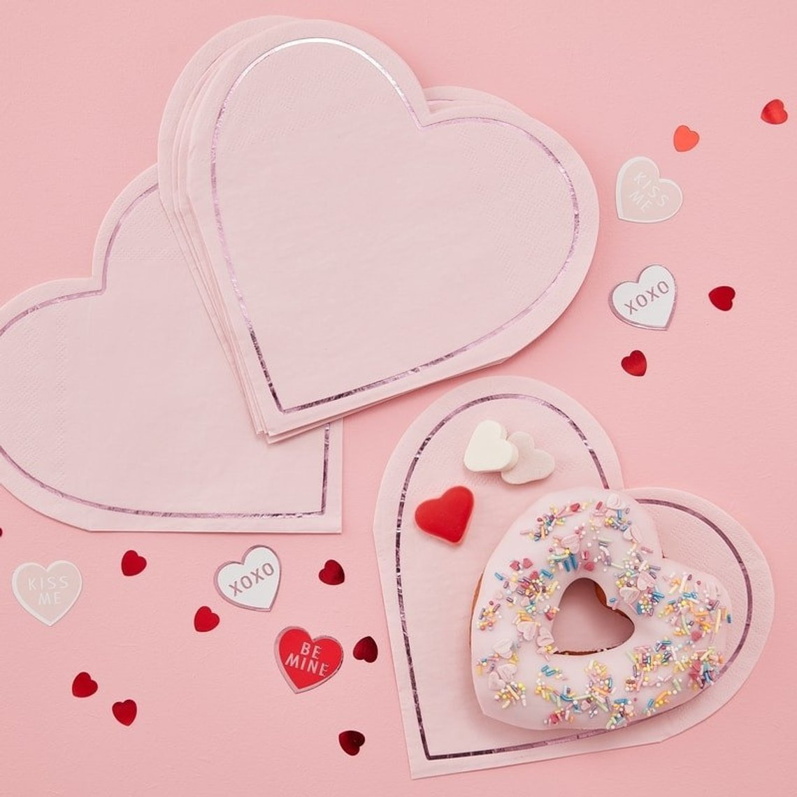 Paper Heart Shaped Napkins for Valentine's Day