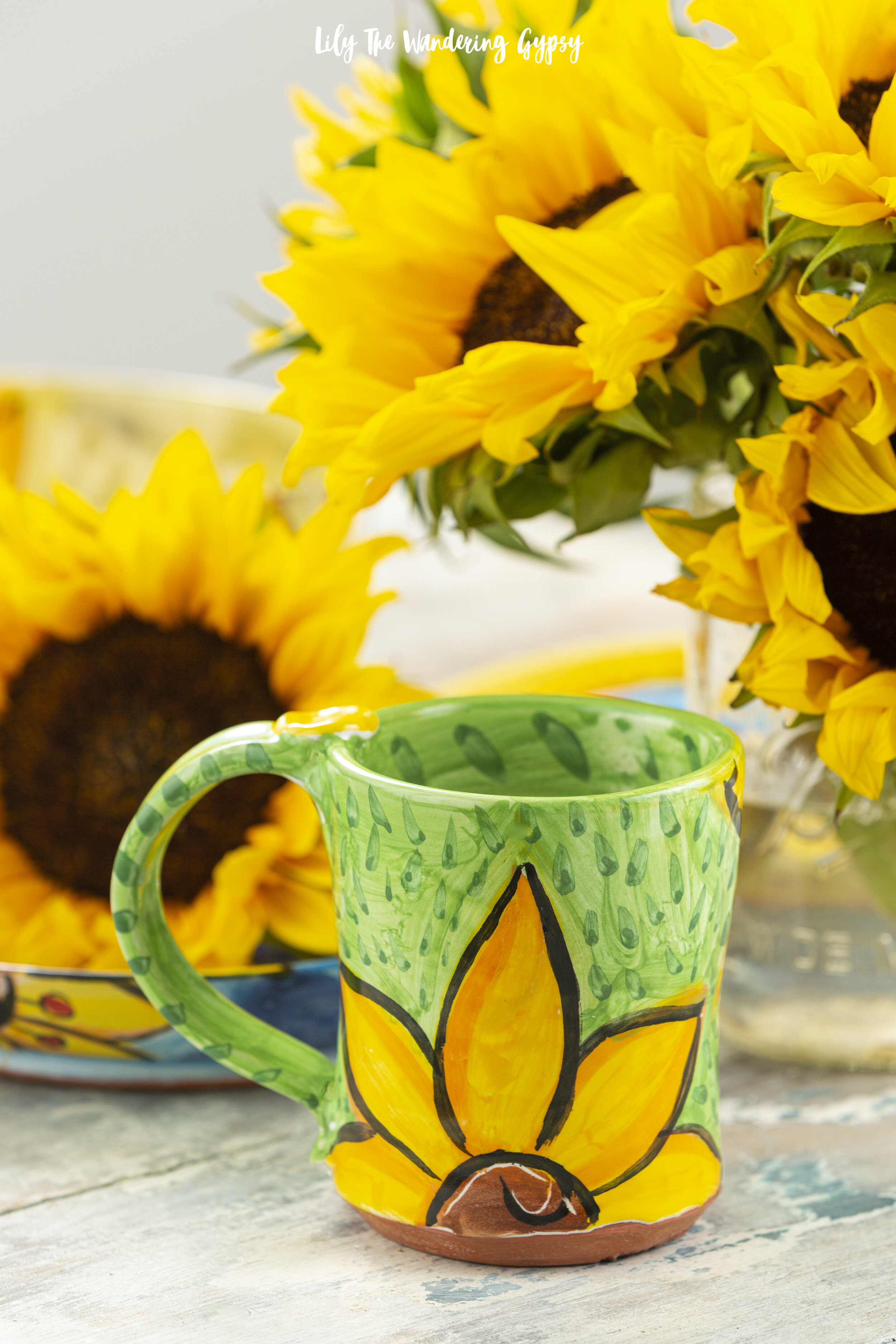 Hand Painted Sunflower Coffee Mug