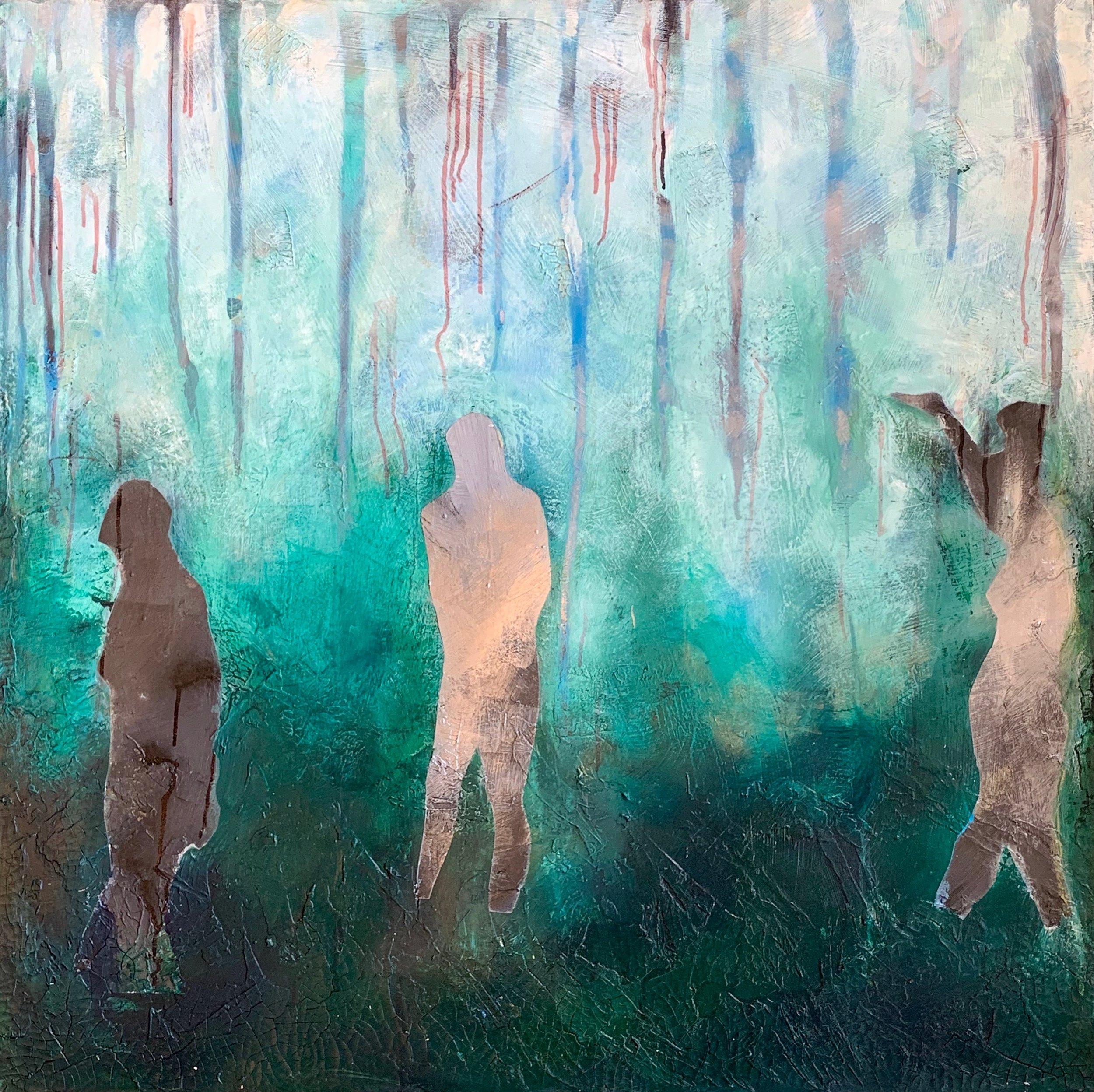 """""""Reflective""""   acrylic mixed media  30x30"""