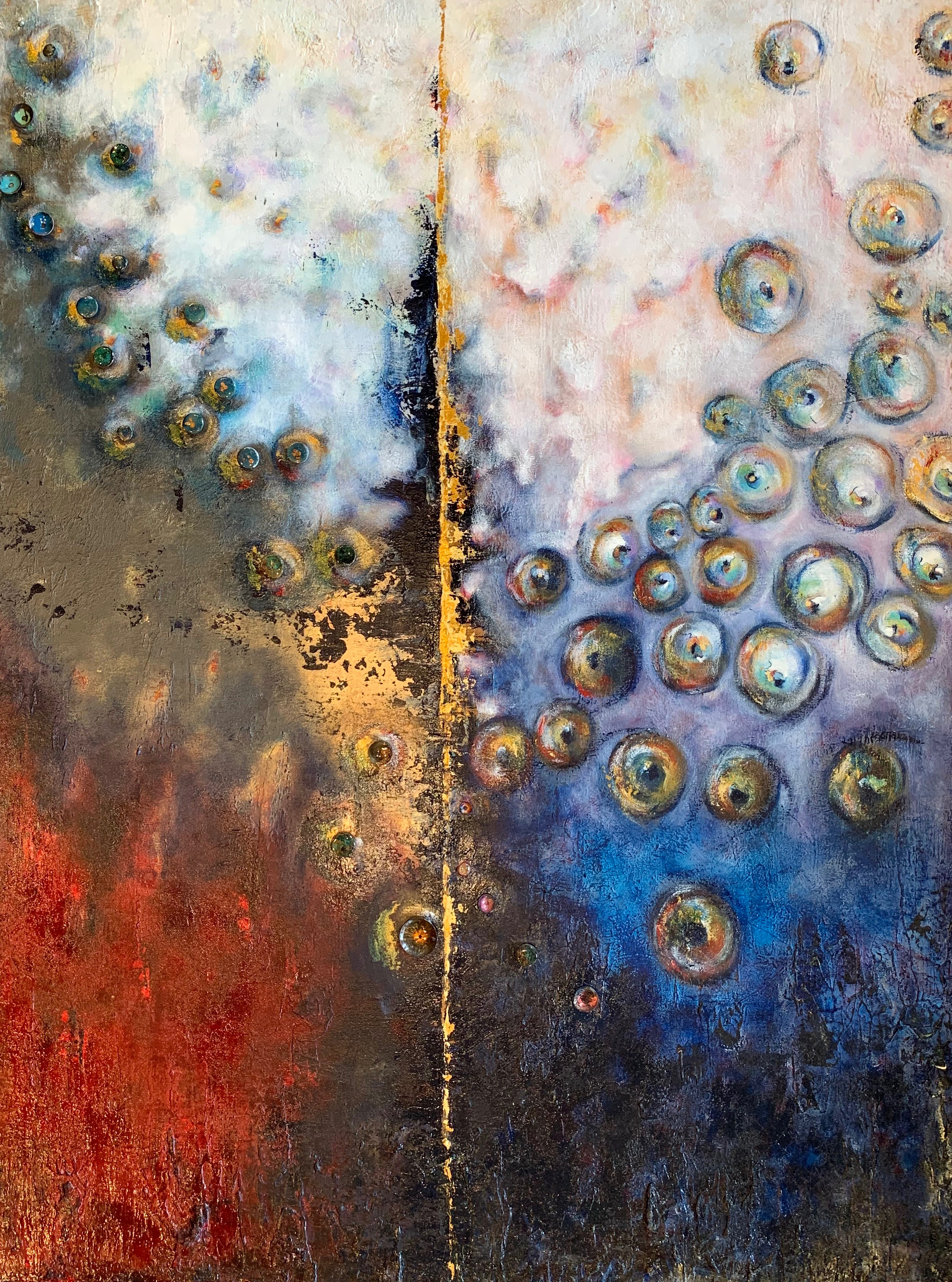 """Summer Peaks""  acrylic mixed media  36x36"
