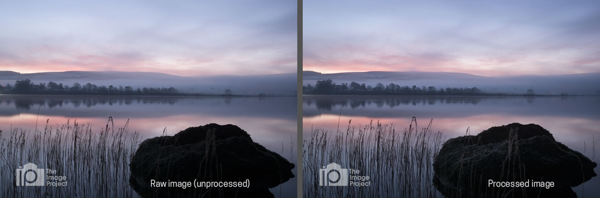 'Pure Calm', before (left) and after (right) processing