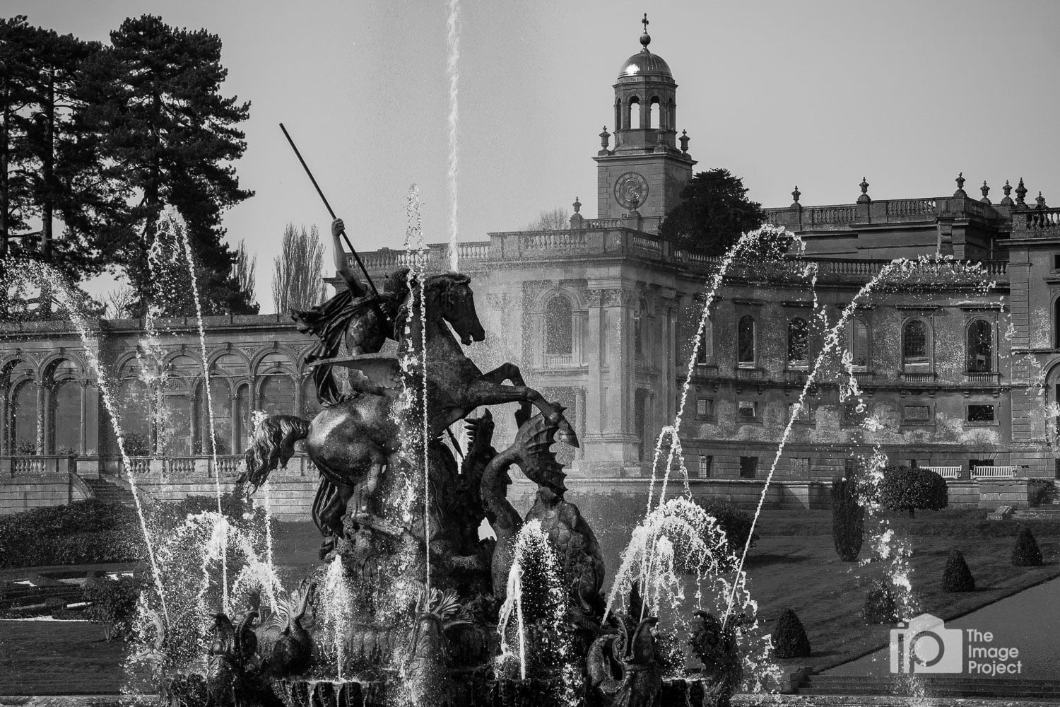 Fountains in full flow at Witley Court, location for photo workshop mansion ruins by Nathan Barry