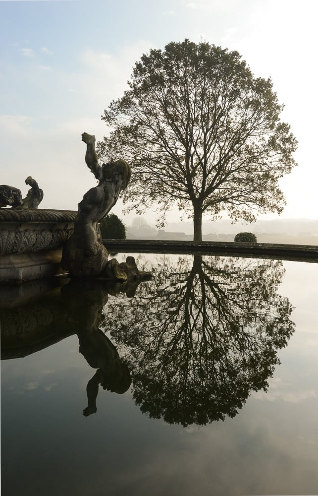 Witley Court statues in the morning by Chrissy James