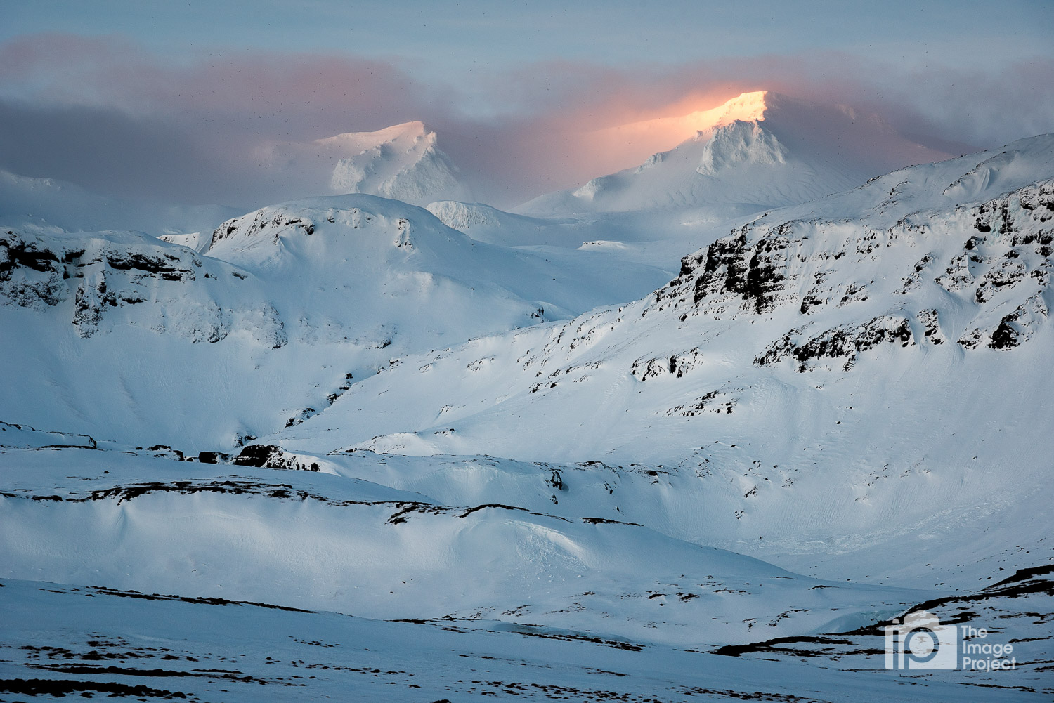 first morning sunrise light hits snowy peak snæfellsnes peninsula iceland by nathan barry the image project in winter