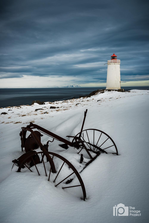 Plough near lighthouse, north Iceland