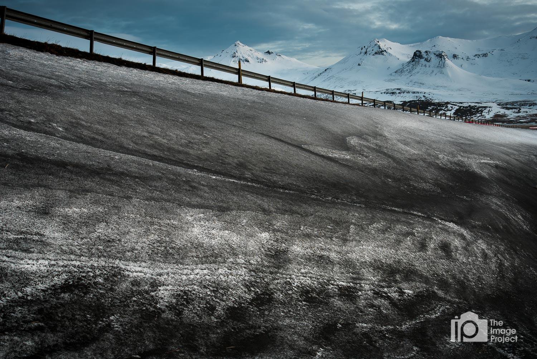 Ice patterns by the roadside on snæfellsnes peninsula