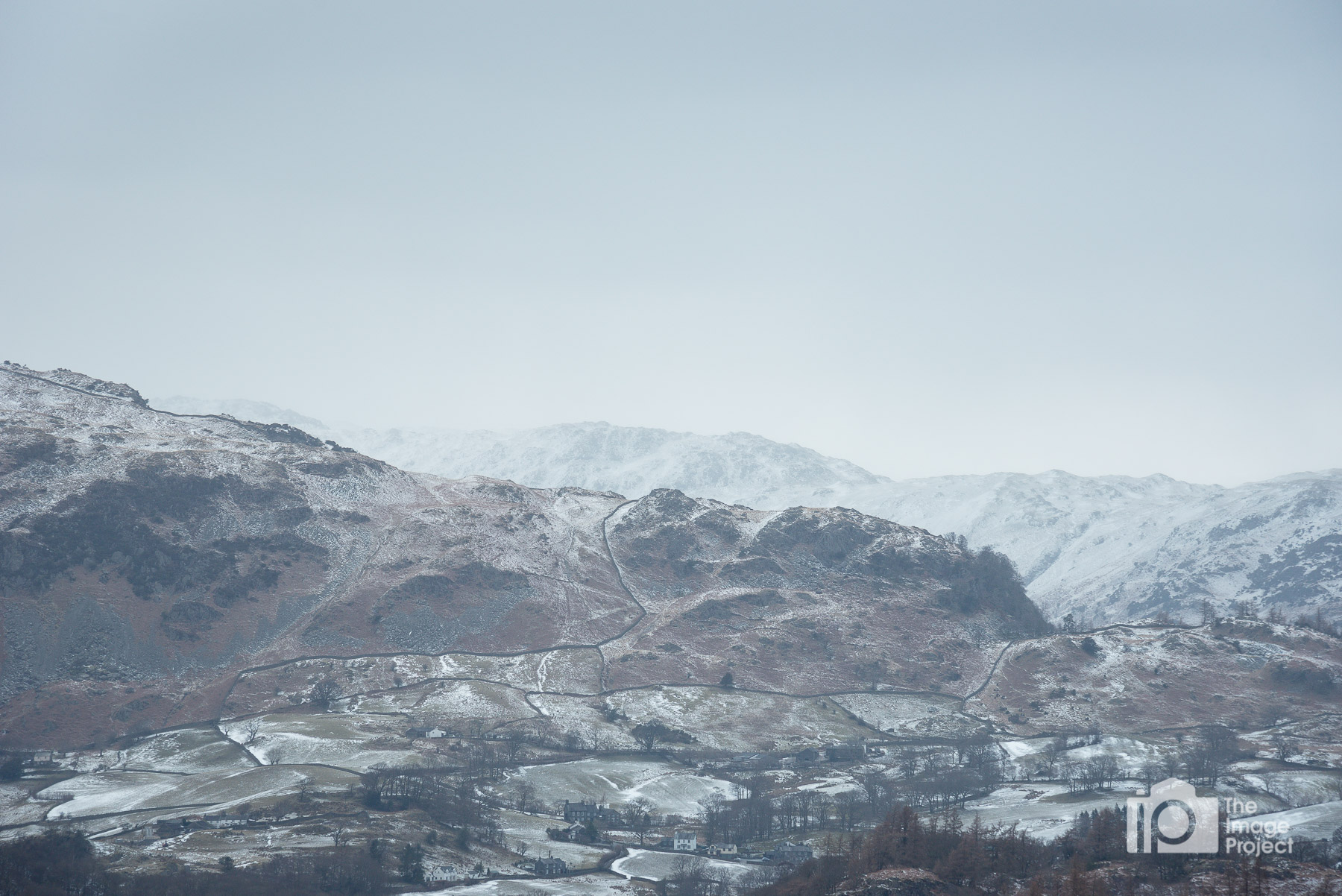 The morning after the snowfall - patchy cover among the low fells of the Lake District, March 2018