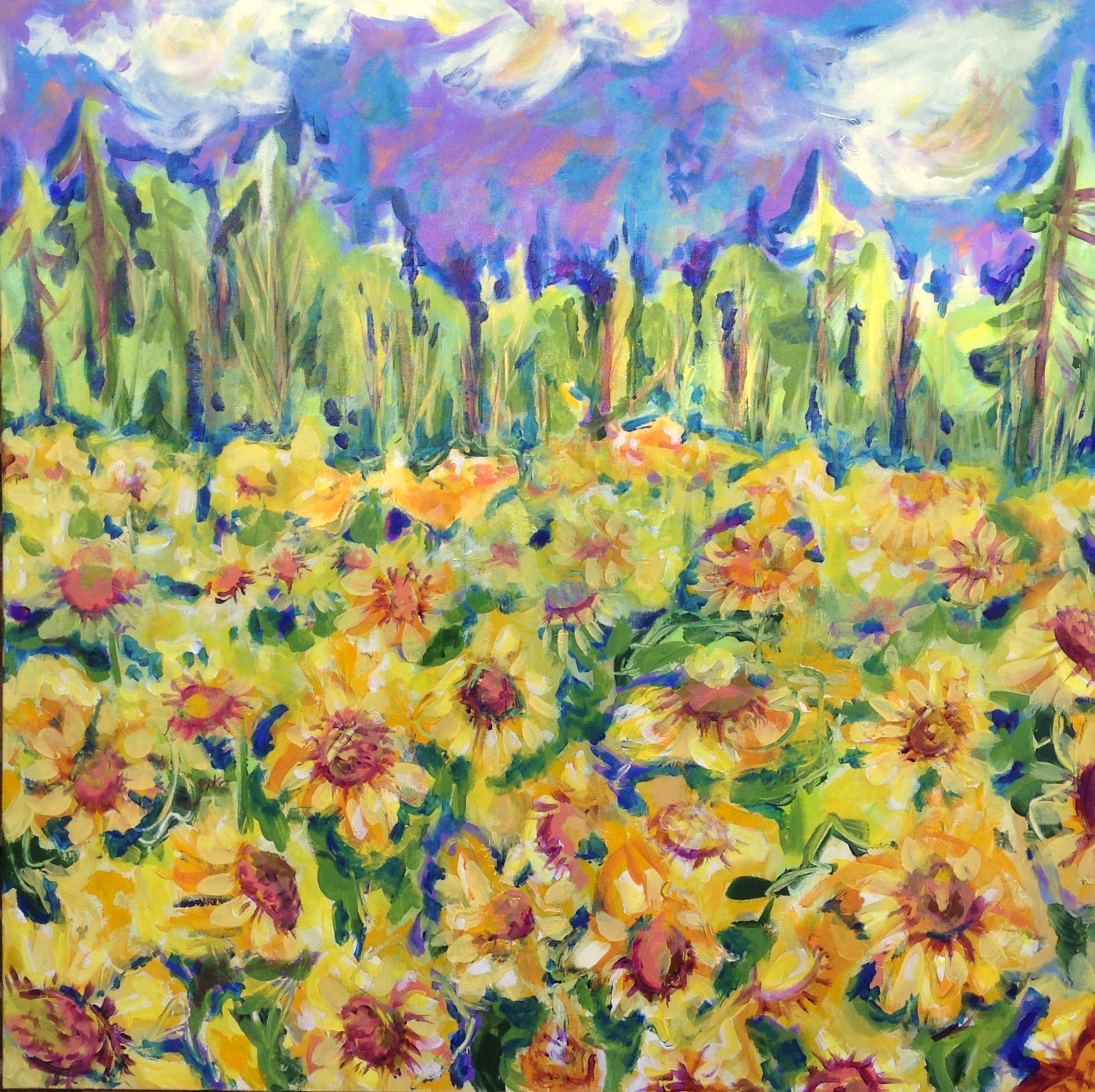 """Sunflower Farm, 36"""" x 36"""", acrylic"""