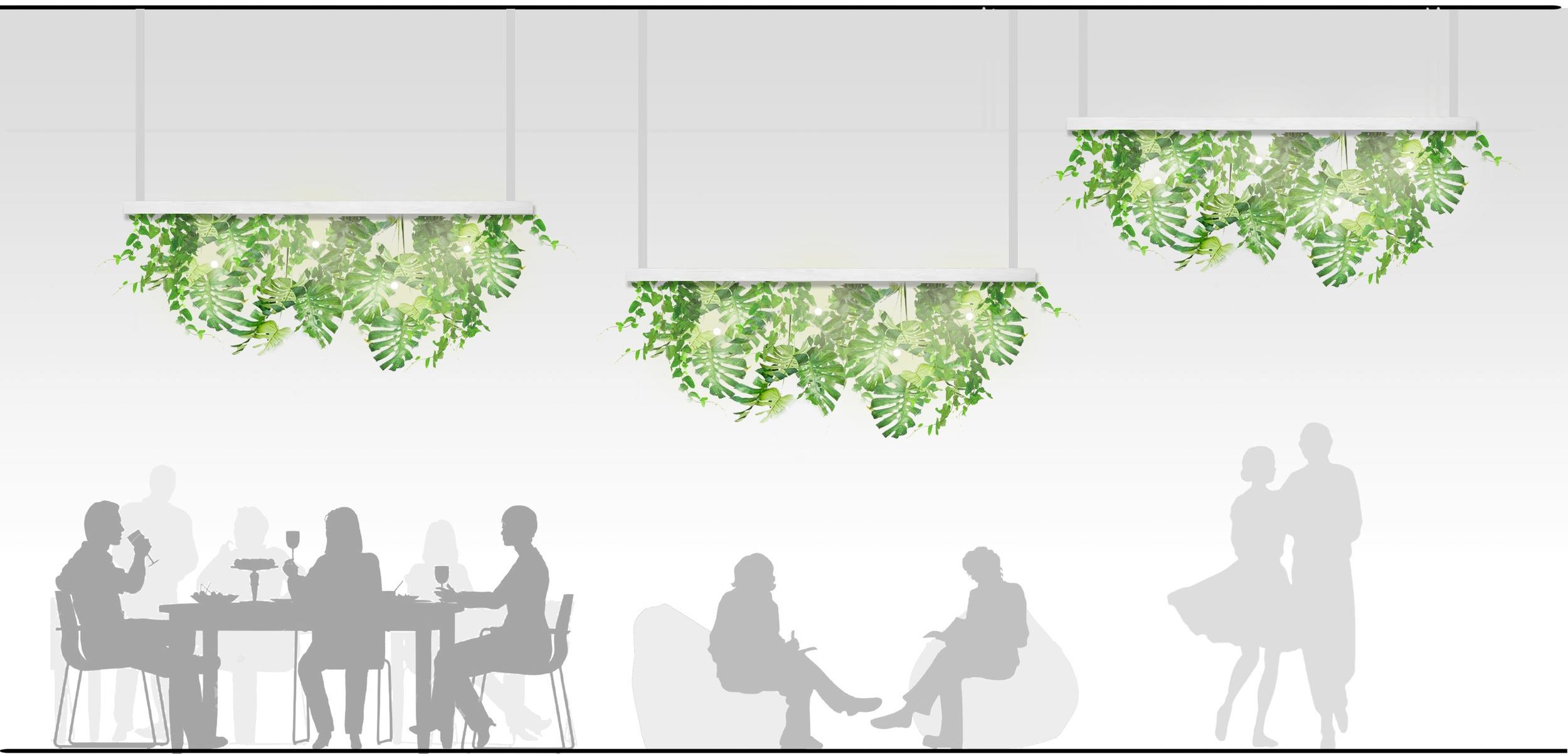 """Zelené """"lustry""""  se světelným zdrojem, polohovatelné vertikálně i horizontálně."""
