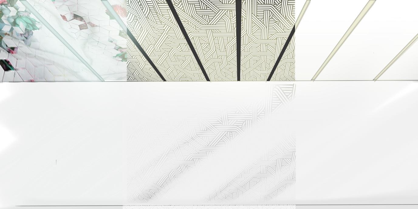 Stropní mříž  (prosvětlené profily k uchycení závěsných elementů) a  stropní projekce .