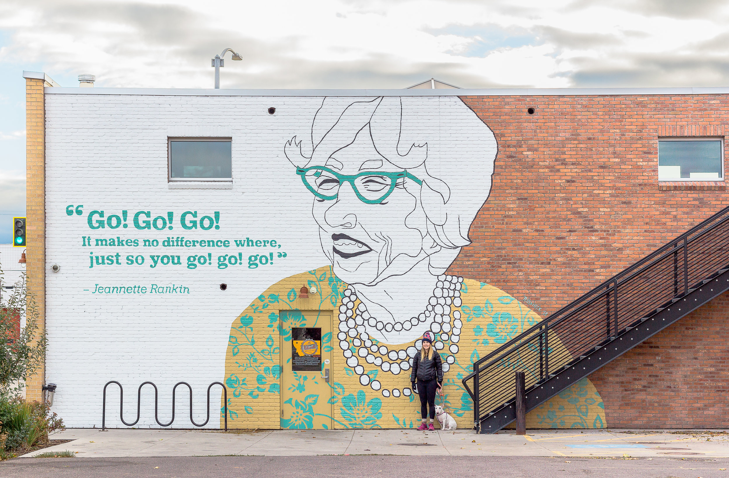 Standing by the completed mural with Dot