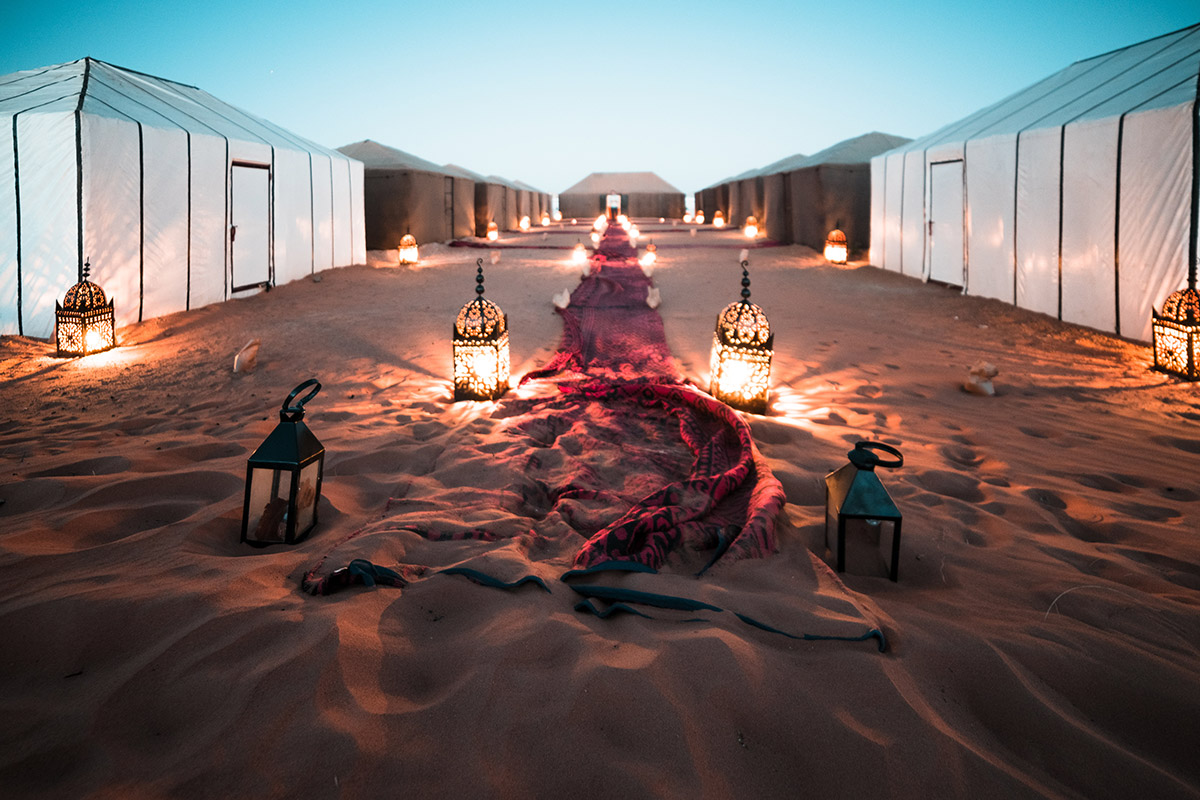 Reach Desert Camp in the Erg Chigaga - We'll arrive at our camp in the Erg Chigaga early afternoon and will be welcomed by a Moroccan Tea session. You'll have the rest of the afternoon free to relax, hang with the crew, or spend the last day of the year exploring the Sahara desert.