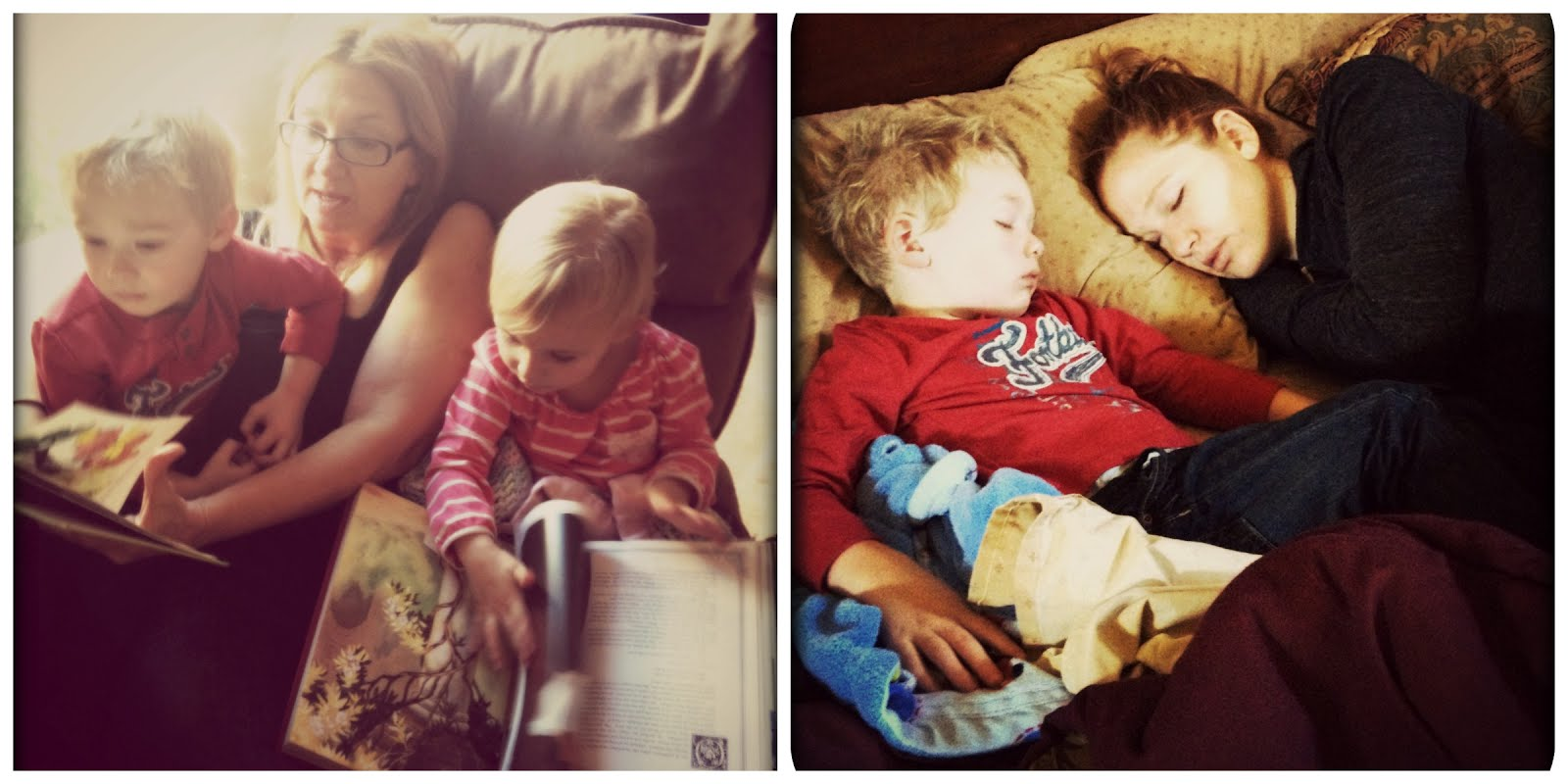 Emma and Jackson reading books with Grandma, Jackson napping with Aunt Amy