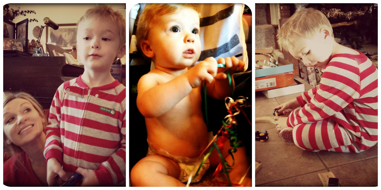 J ready to open presents, Coop not caring about presents at all but loving the string, J and some new trains