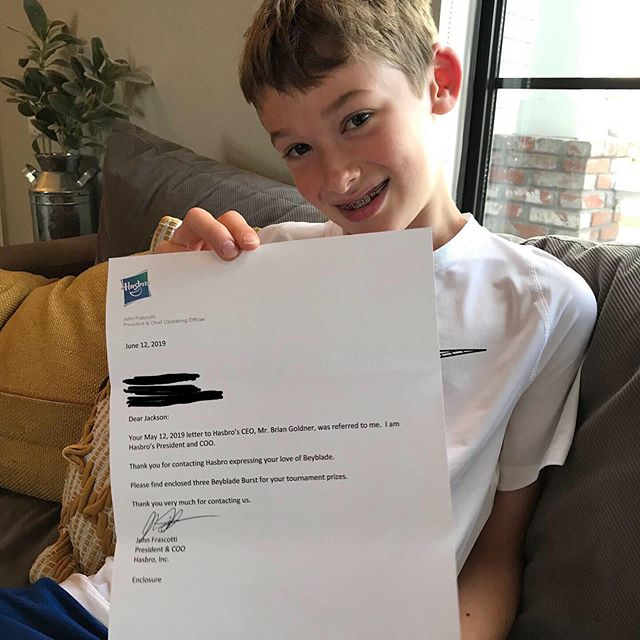 #HASBRO C.O.O. responded to Jackson's sponsorship request! 😮🥳🤗 Who wants to come to his #beybladetournament on July 20th?! You just might win a #beyblade - Thanks to a generous company and a leader who supports young leaders!
