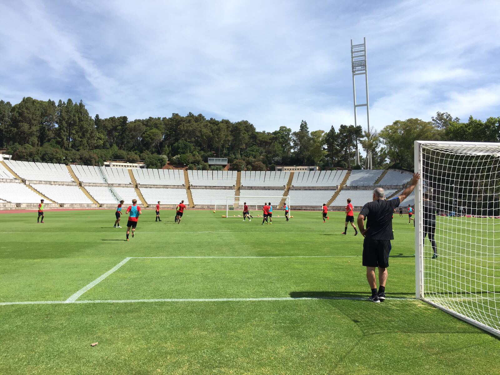 U18 National Team training in Lisbon at Portuguese national stadium, site of U.S. U18 v. Japan on June 14.
