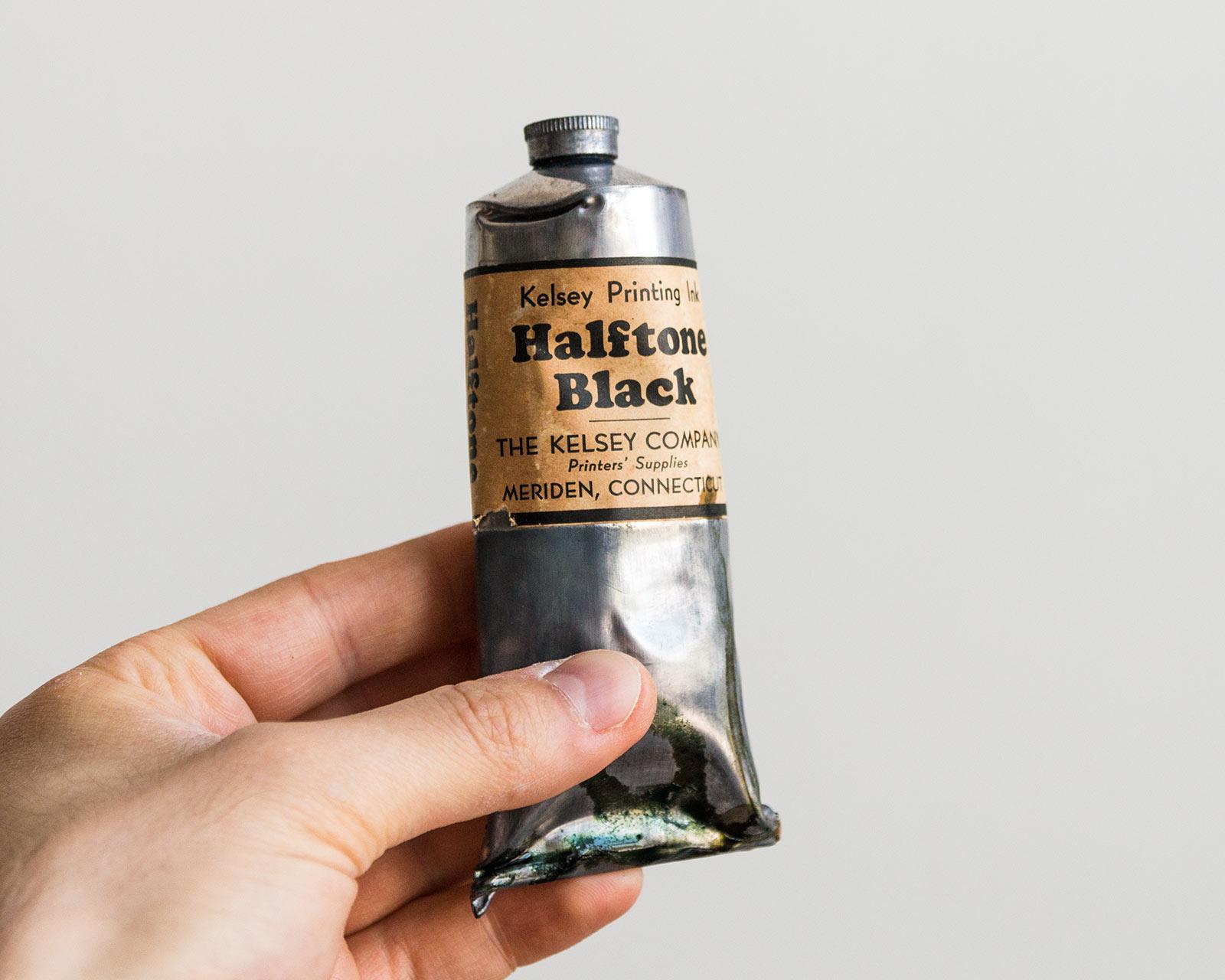Kelsey letterpress printing halftone black ink tube