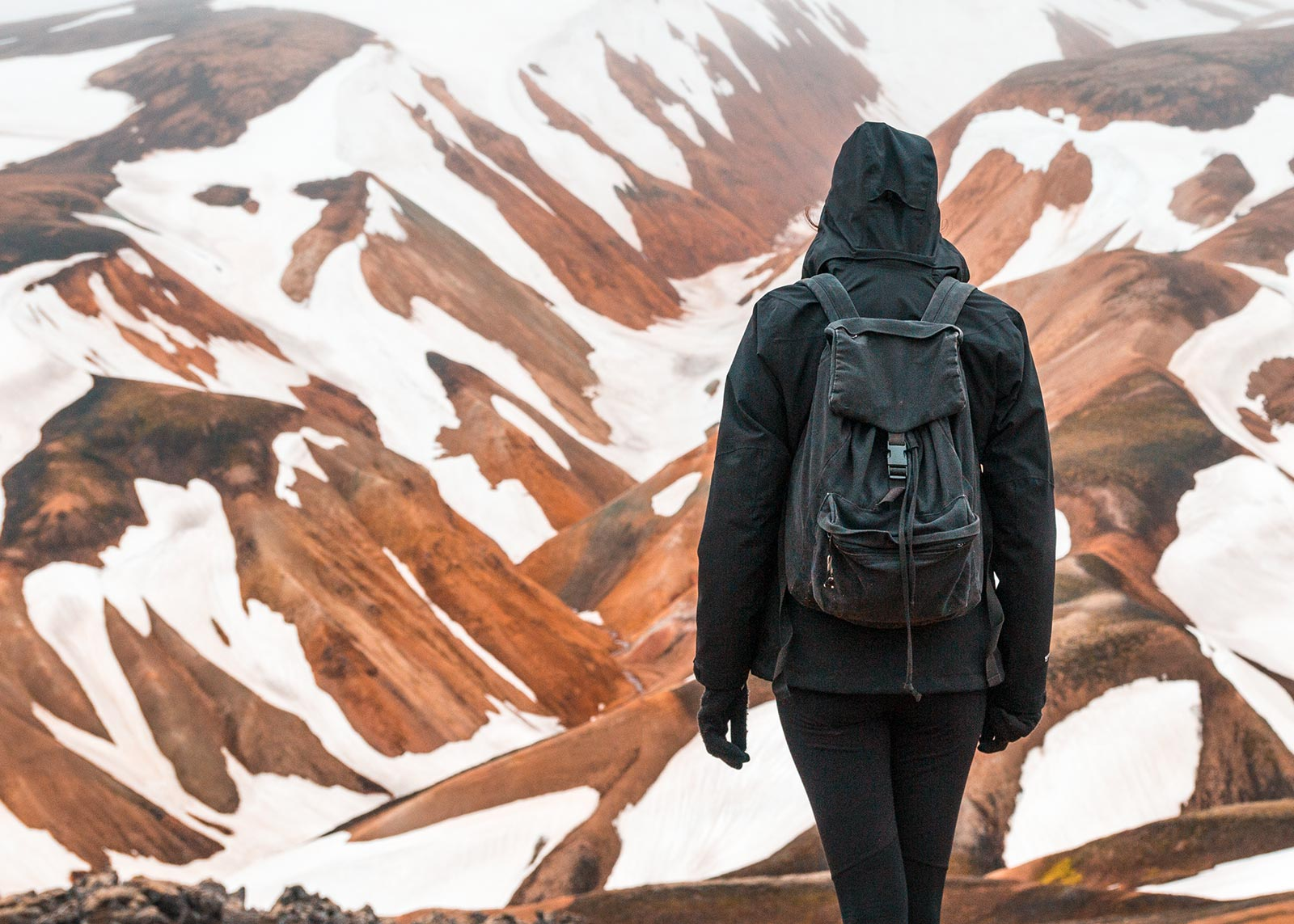 Hiking Landmannalaugar in the Snow