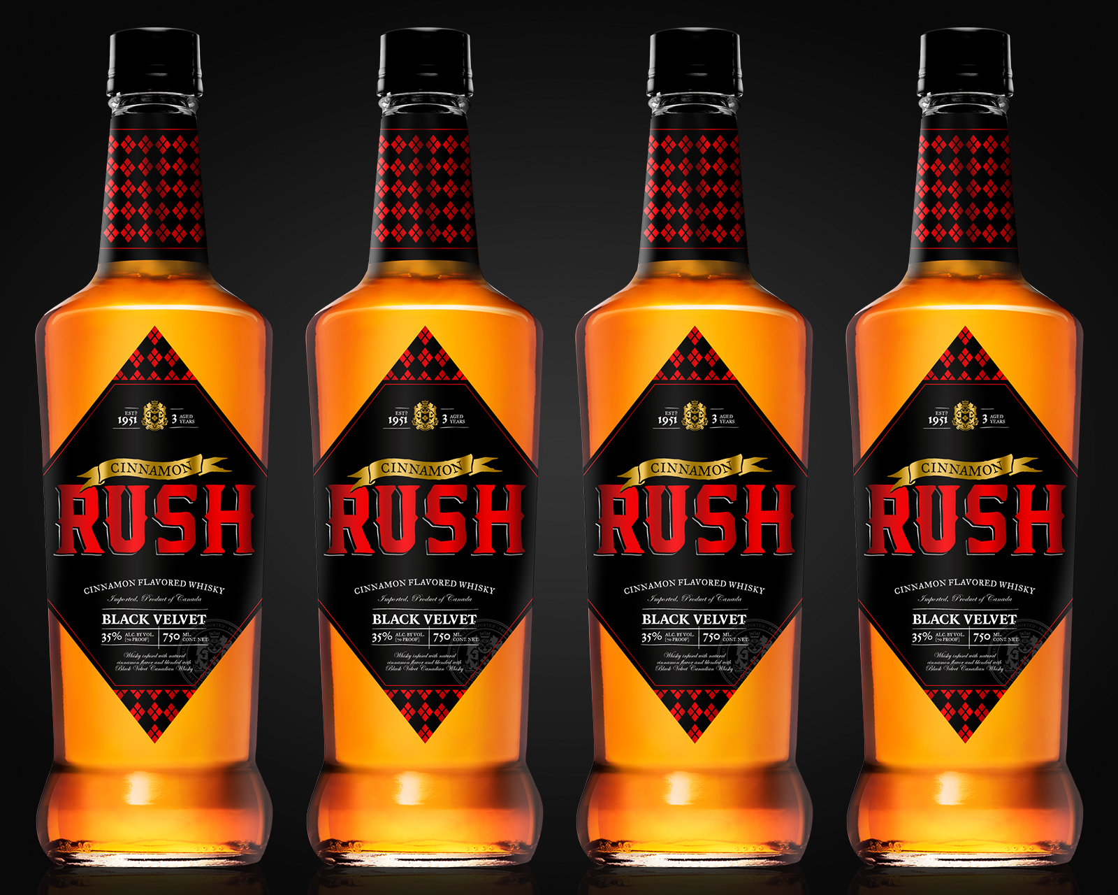 Whisky label design with custom typography