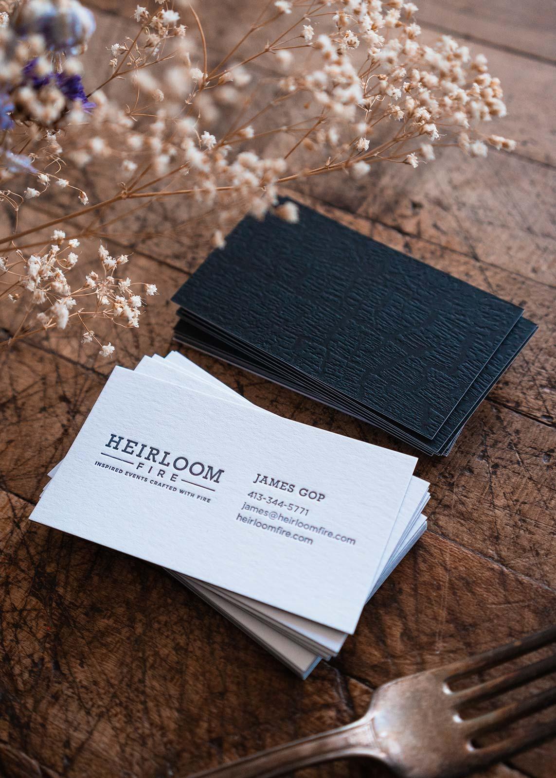 Heirloom Fire business card letterpress design