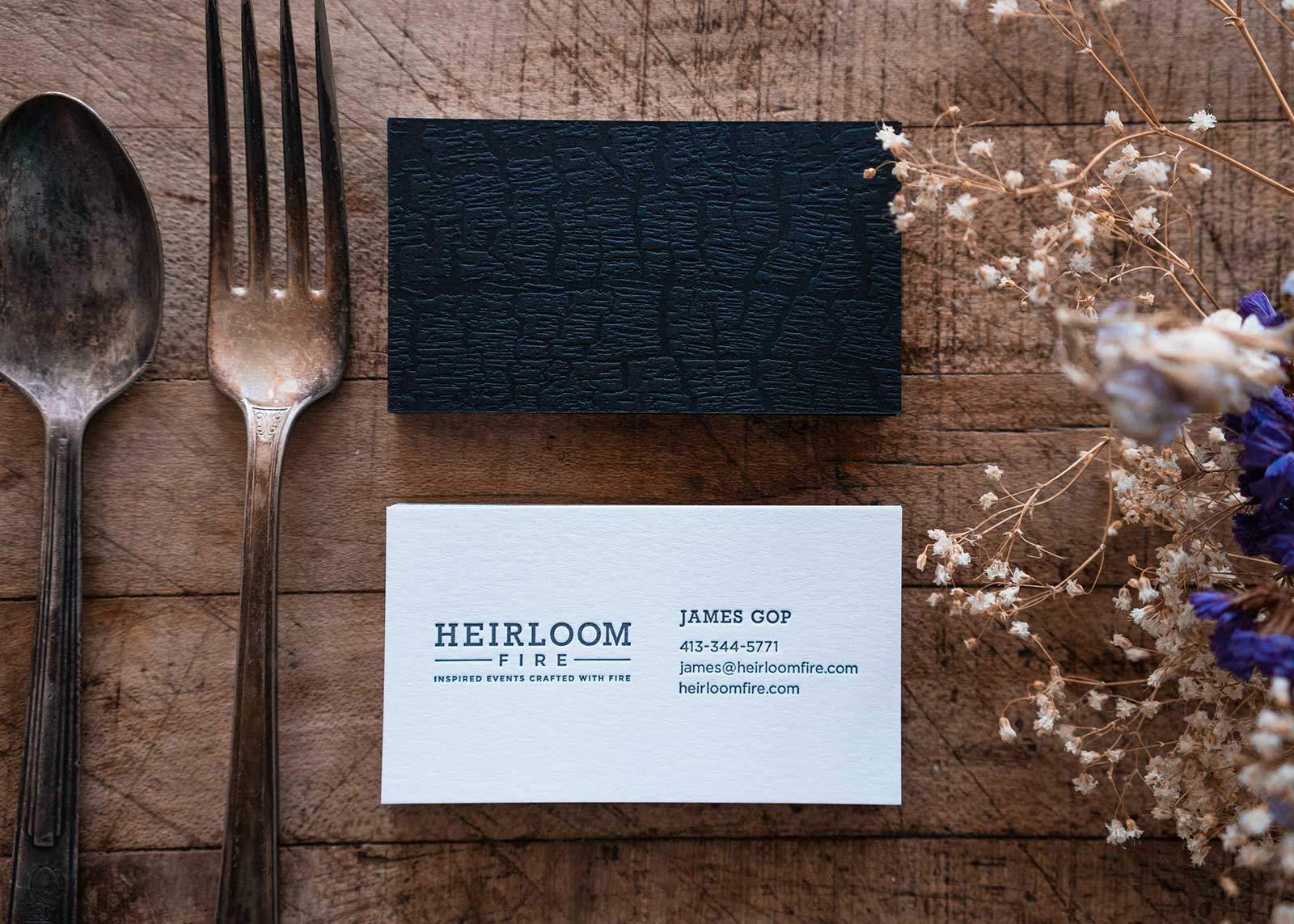 Business card design for Heirloom Fire