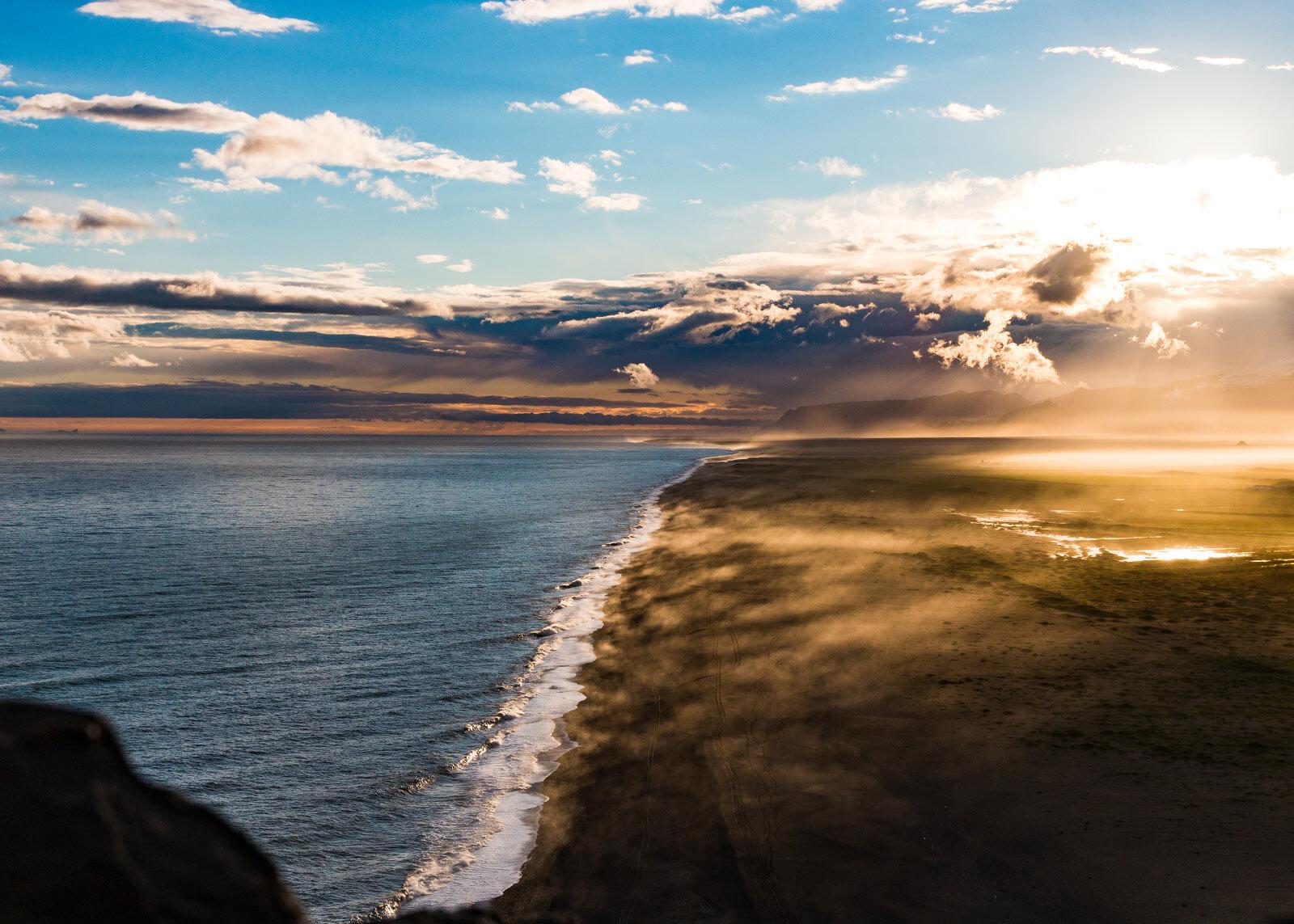 Dyrhólaey sunset at the Black Beach
