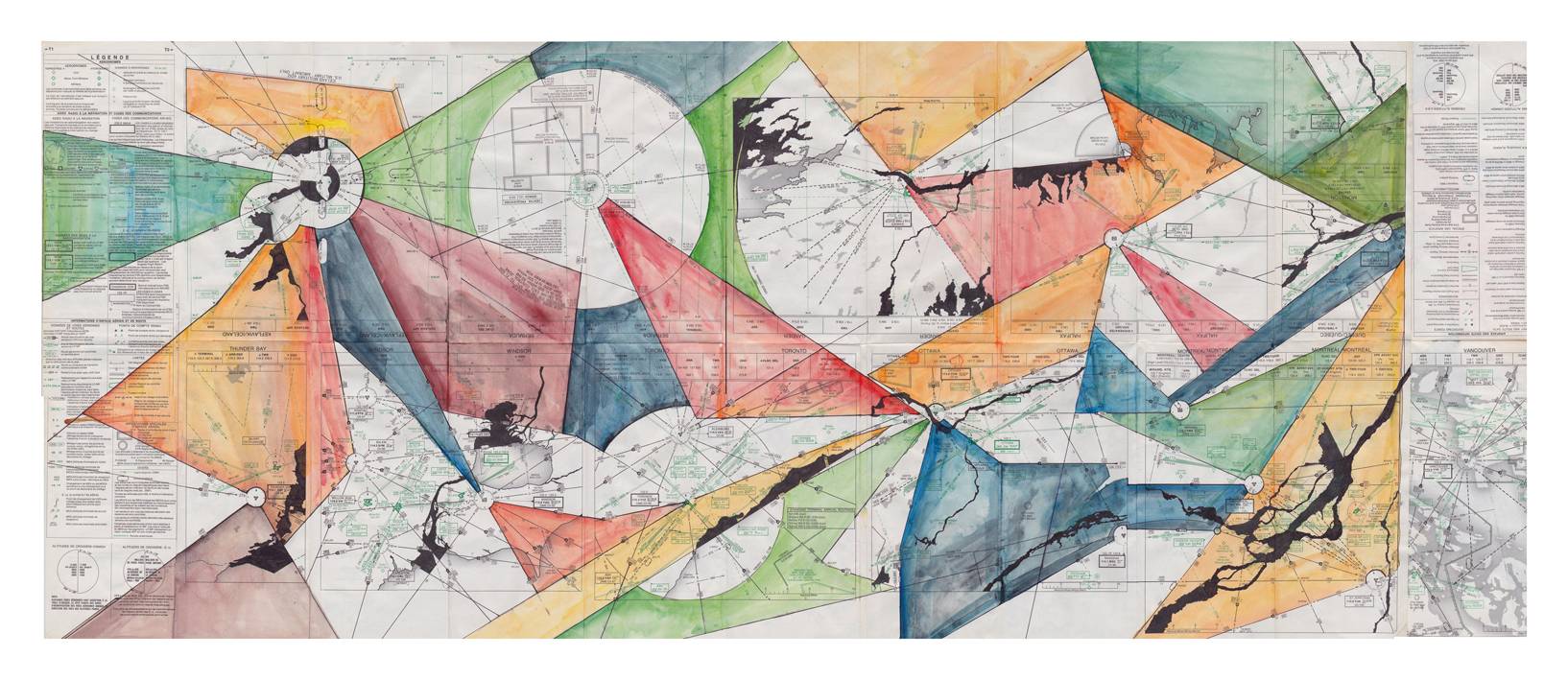 Fragments, 2011, acrylic paint and pigment ink on map, 50 x 104 cm