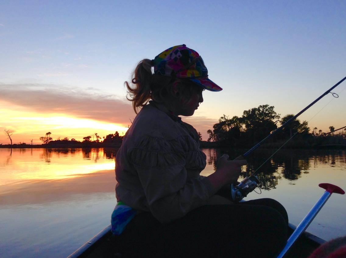 Sunshine fishing on her birthday