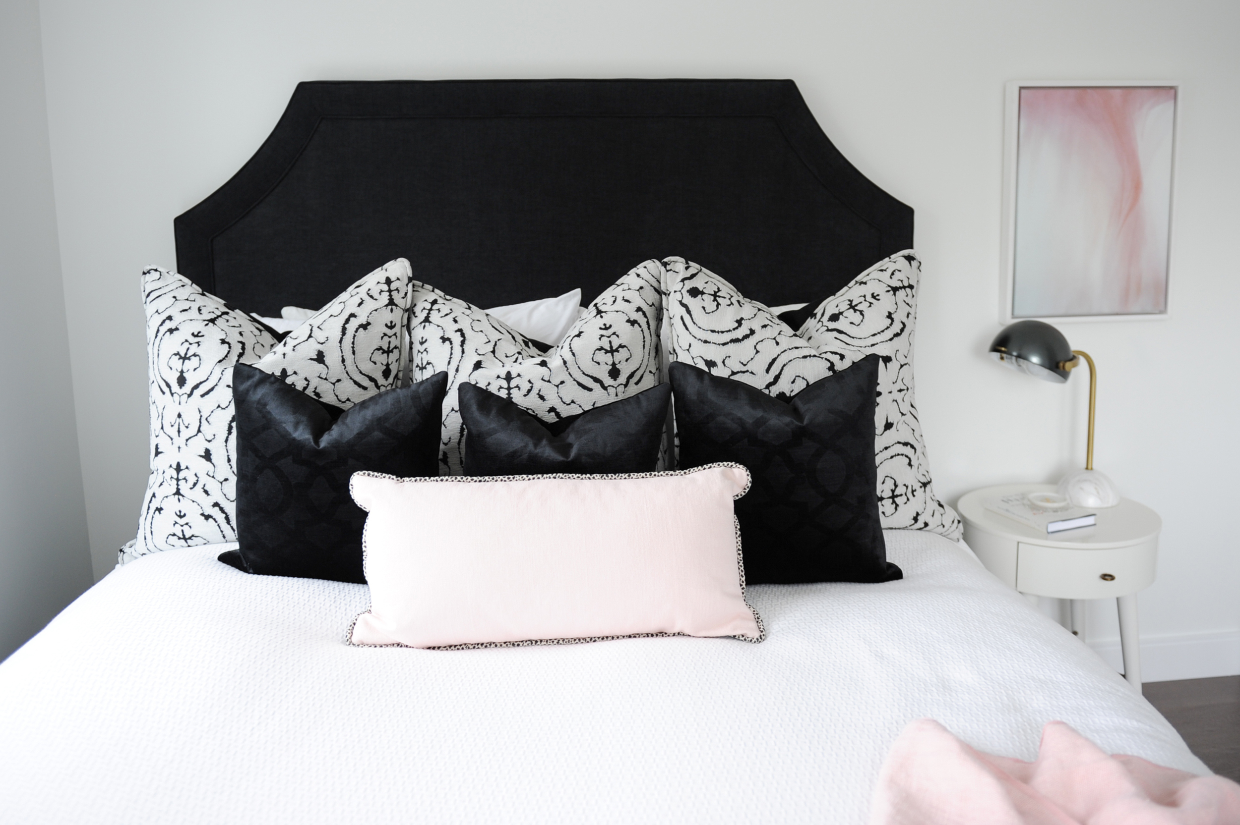 A black headboard to add some drama.