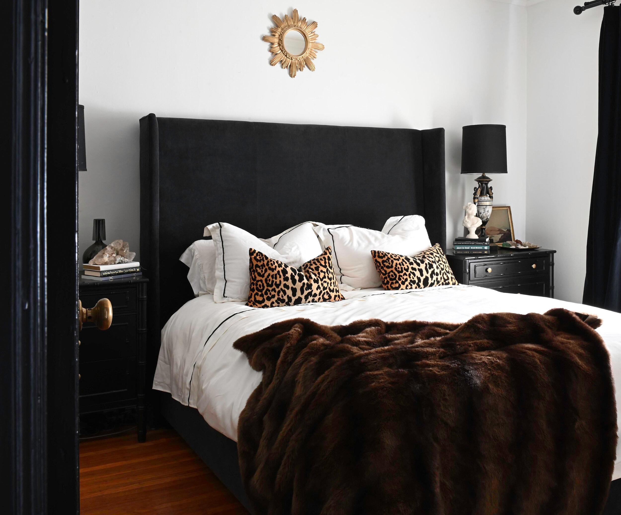 black velvet bed with cheetah print pillows