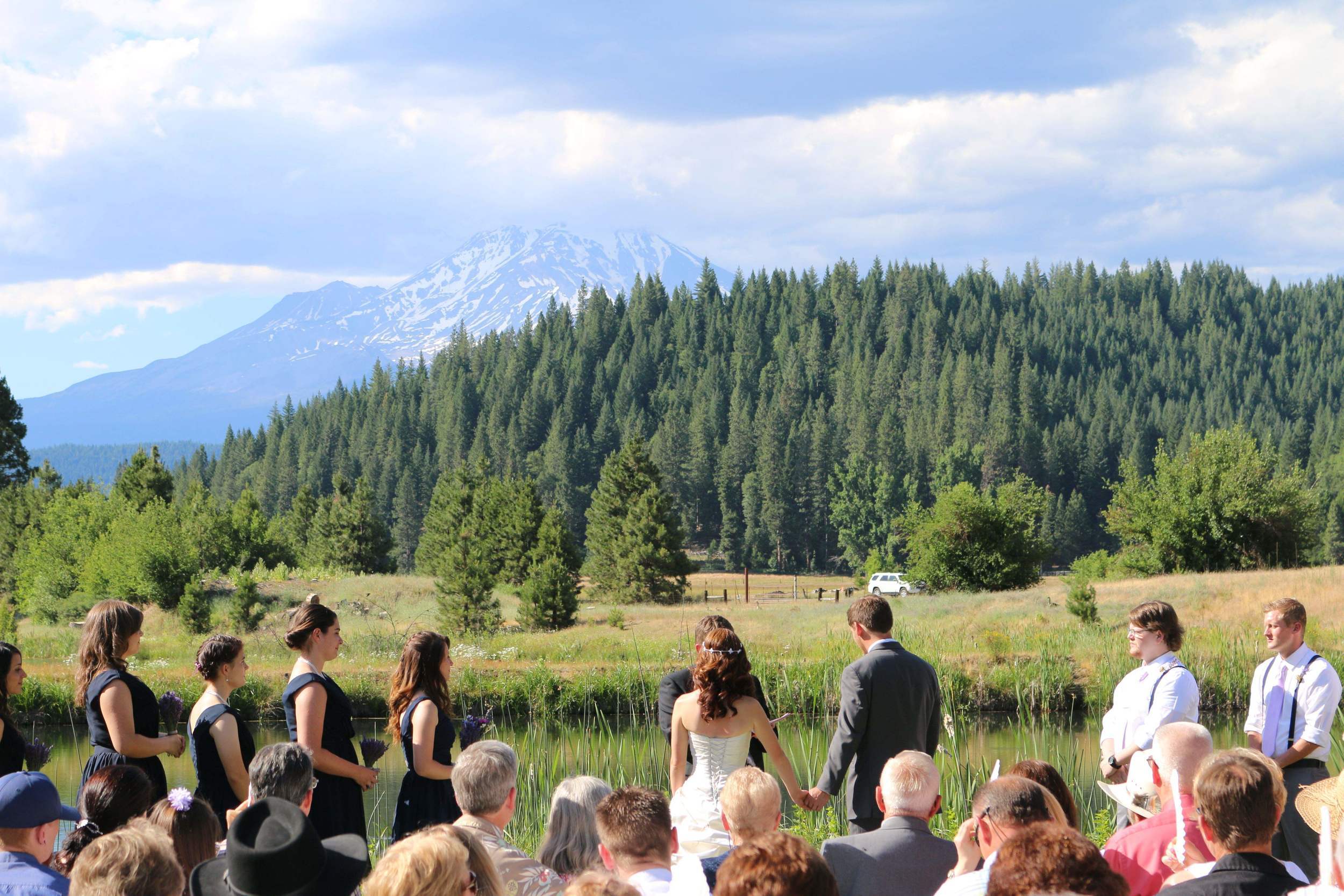 Enjoy your special day with a ceremony on the peninsula with the beautiful majestic Mount Shasta.